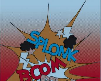 Symbolbild für Mediengewalt Splonk Boom Comicssprechblasen für Gewalt